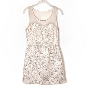 Elle mini dress cream and gold sleeveless size 4